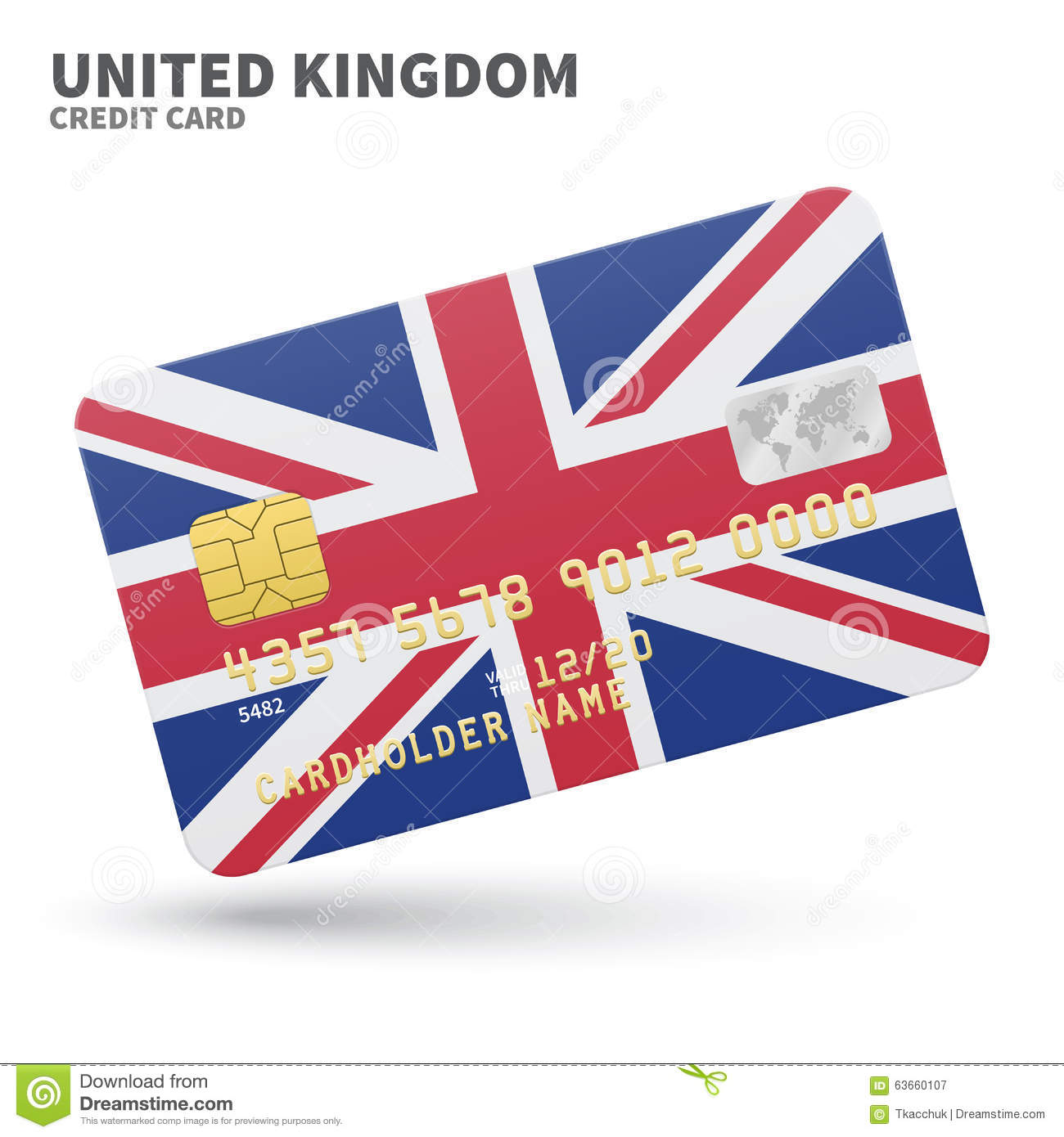 Credit Card With United Kingdom Flag Background Stock