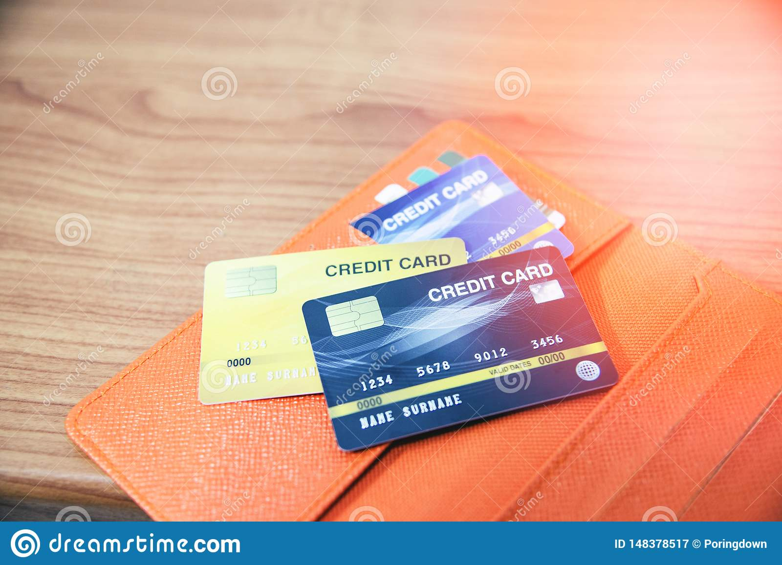 Credit Card In Wallet On The Wooden Table Stock Image ...