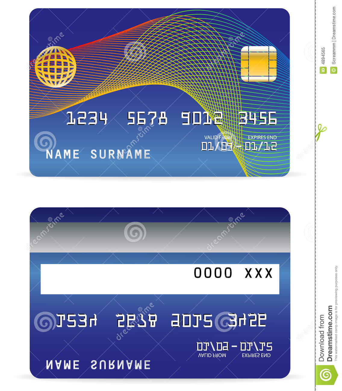 credit card on wave lines background stock vector