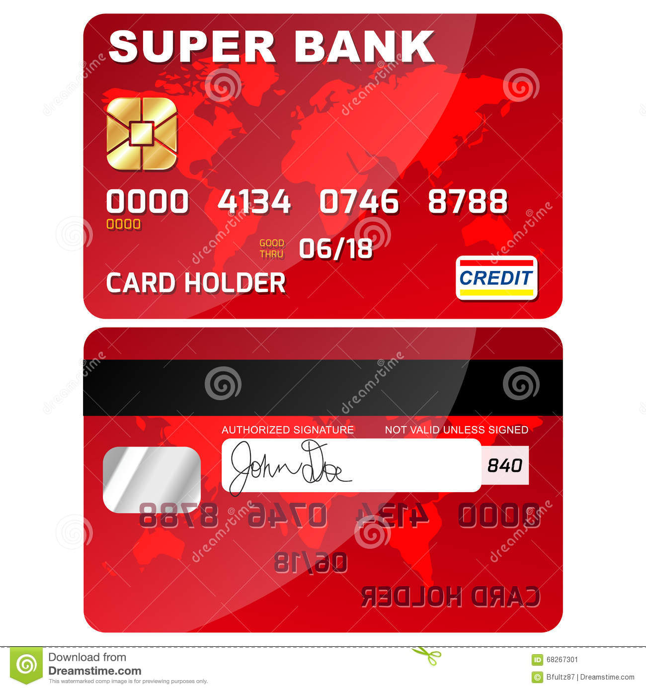 Credit / Debit Card Front And Back Stock Vector