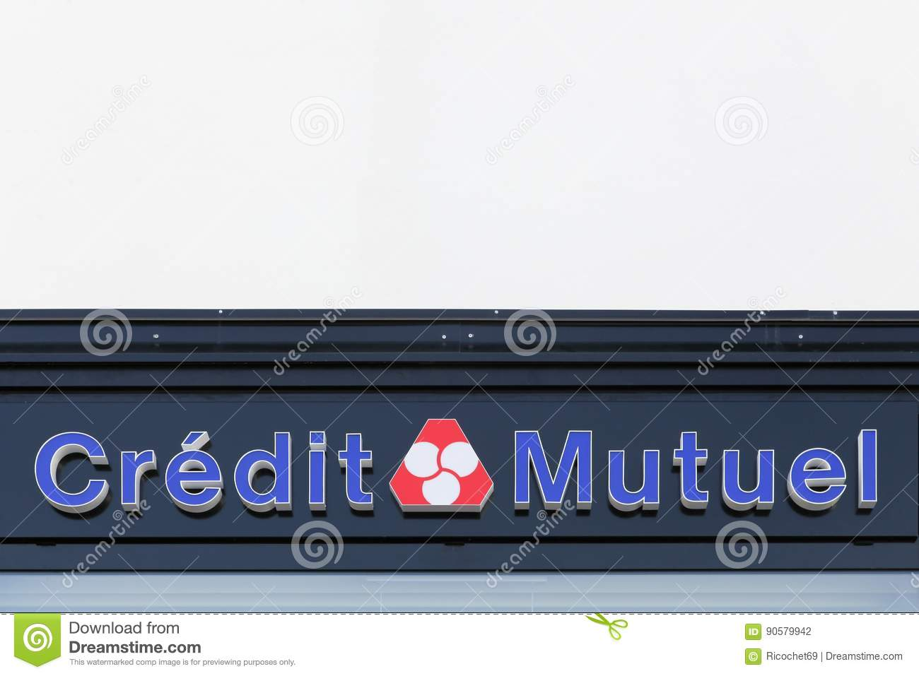Credit Mutuel Logo On A Wall Editorial Photography Image