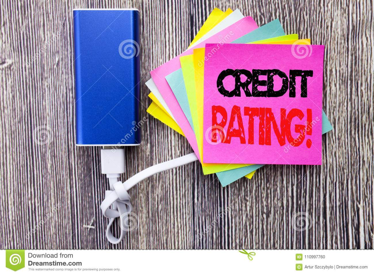 Design Bank Wit.Credit Rating Business Concept For Finance Score History Written