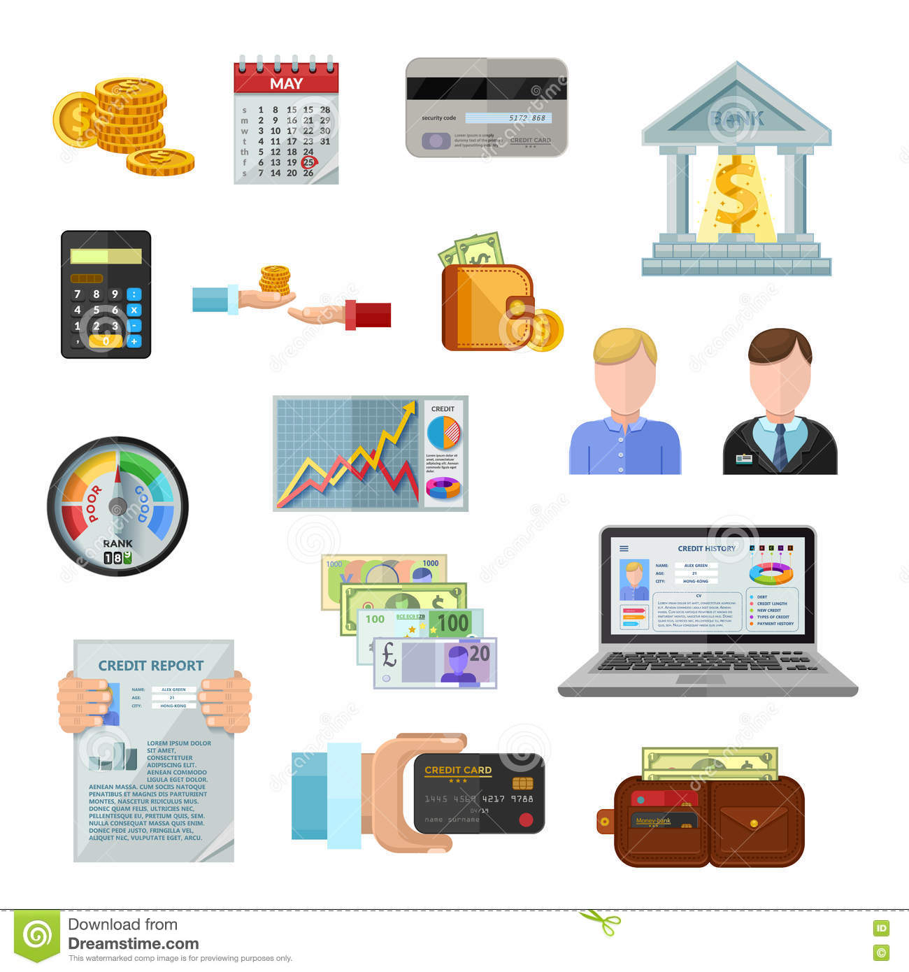 Credit Rating Icons On White Background Stock Illustration