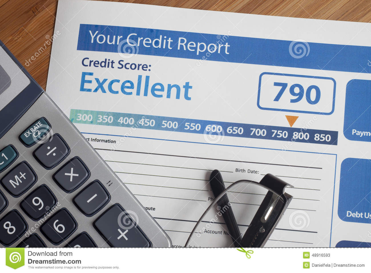 Credit report with score stock image. Image of finance