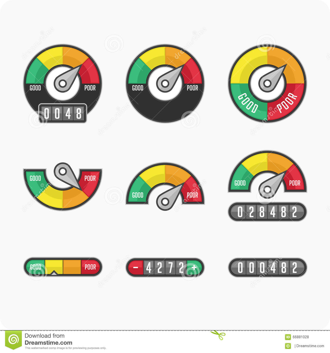 Credit Score Indicators And Gauges. Stock Vector