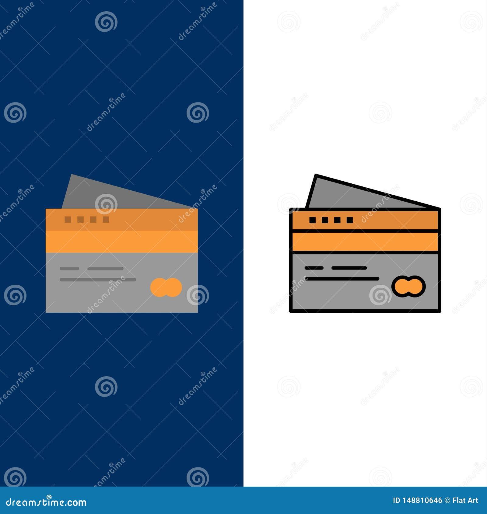 Creditcard, Bankwezen, Kaart, Kaarten, Krediet, Financiën, Geld, het Winkelen Pictogrammen Vlak en Lijn vulde Pictogram Vastgeste