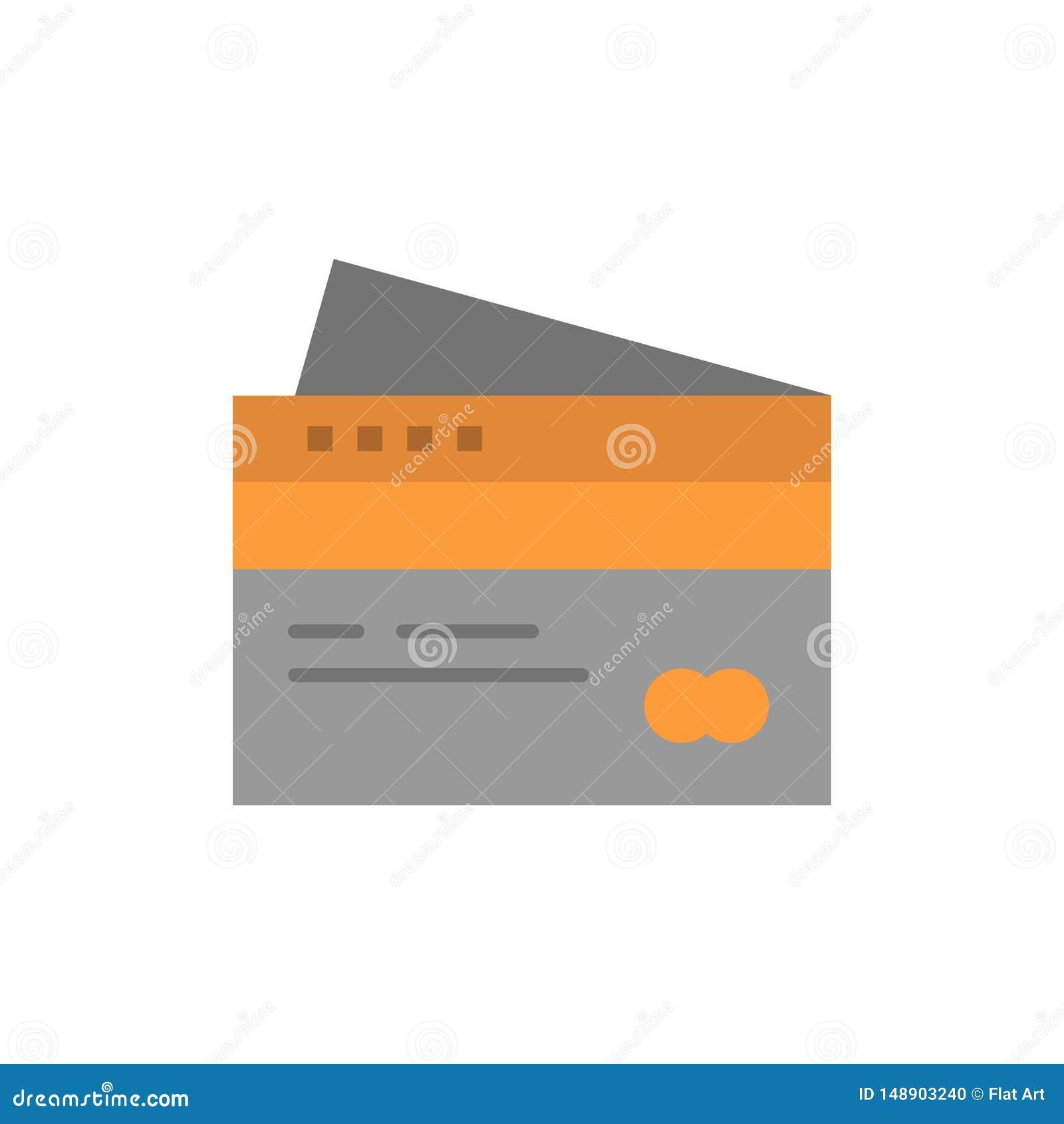 Creditcard, Bankwezen, Kaart, Kaarten, Krediet, Financiën, Geld, het Winkelen Vlak Kleurenpictogram Het vectormalplaatje van de p