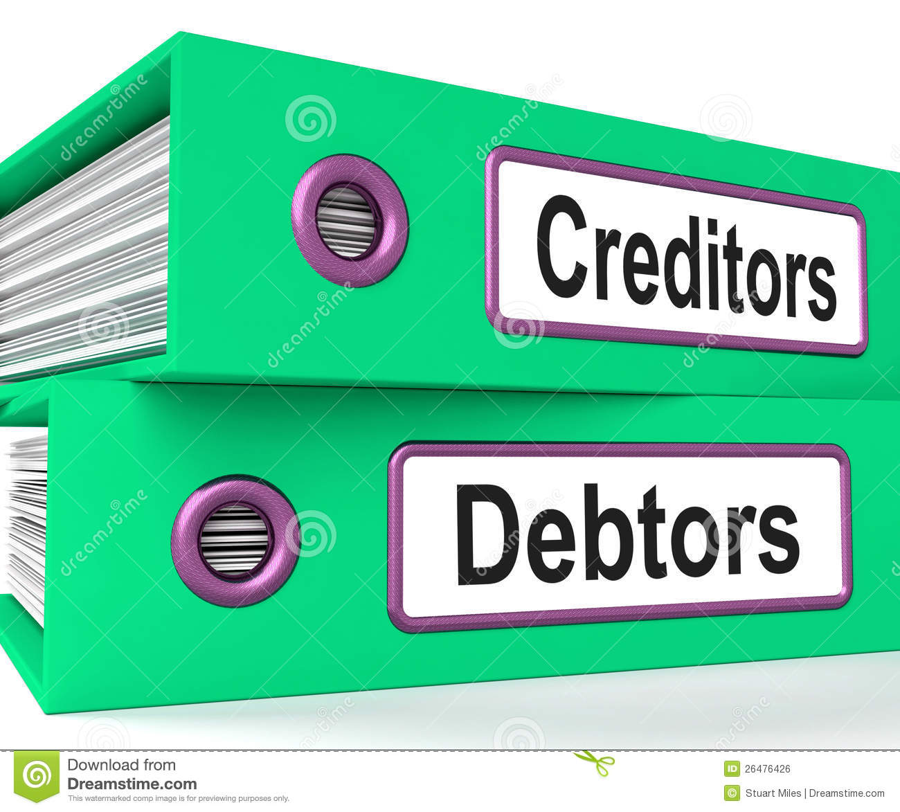 Creditors Debtors Files Shows Lending Royalty Free Stock ...
