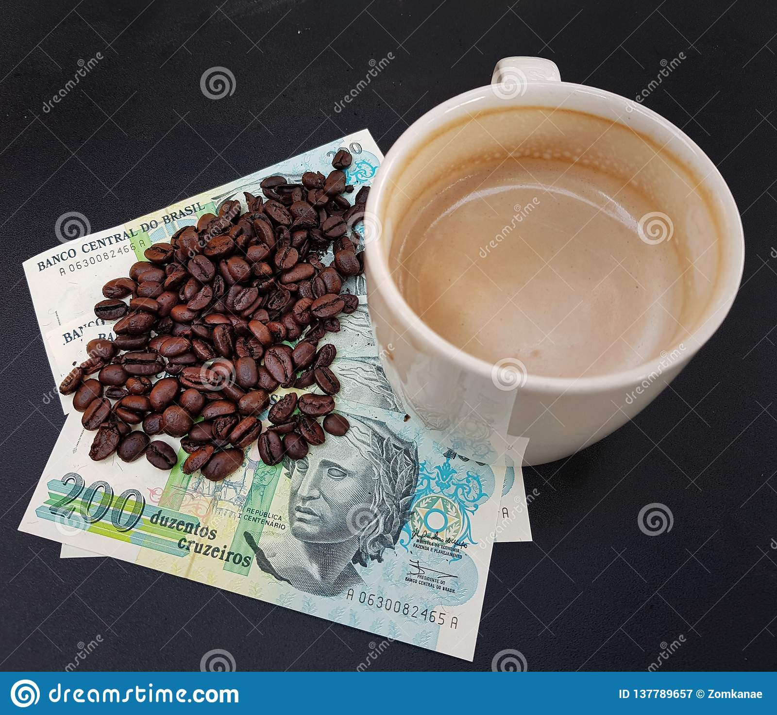 Brazil roasted coffee beans placed on banknotes