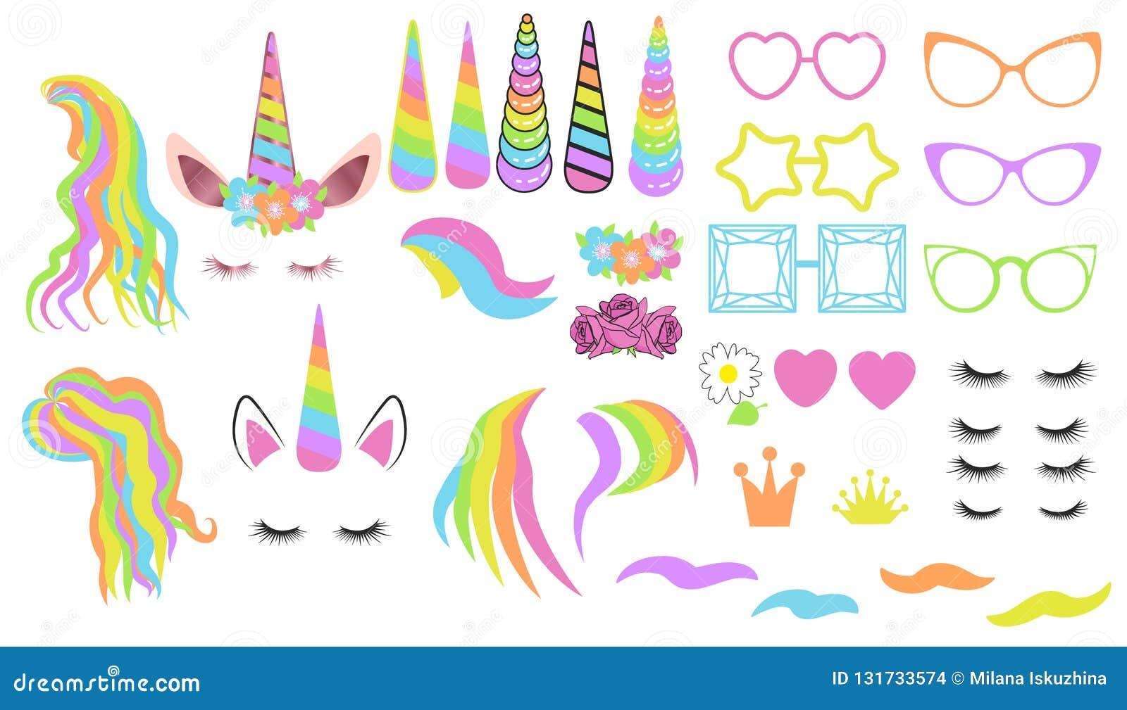 Cree su propio unicornio - colección grande del vector Constructor del unicornio Cara linda del unicornio
