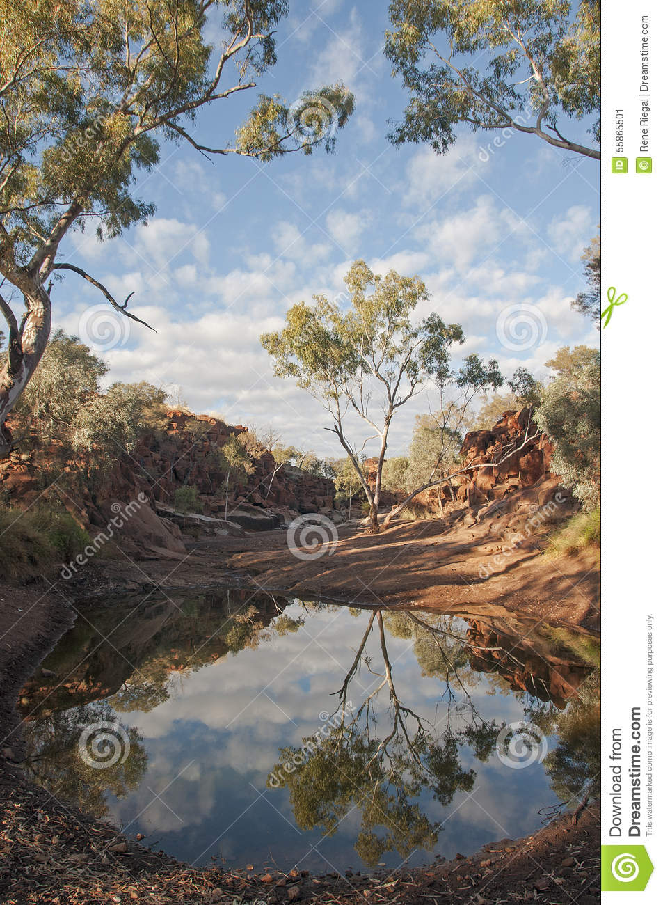 Creek, billabong in Australia, ancient indigenous peoples site for the public