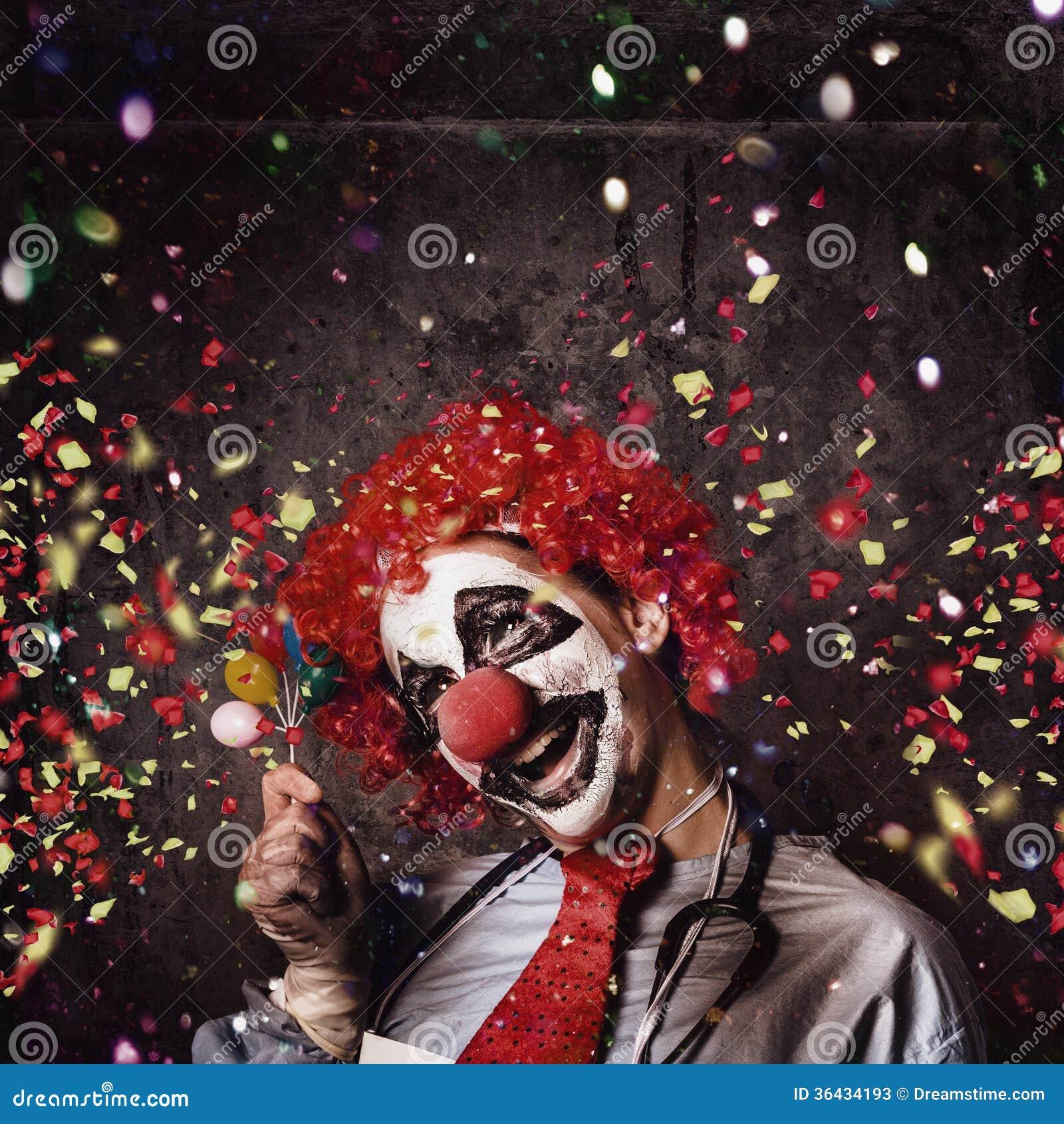 Creepy Birthday Clown At Party Celebration Stock Image