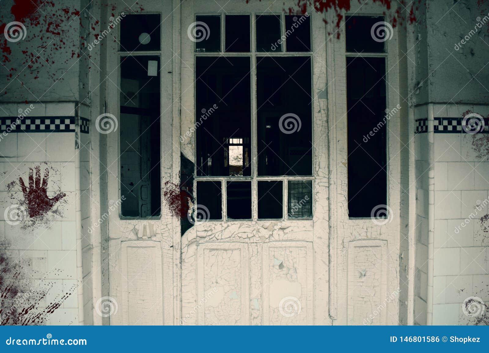 Creepy Bloody Door Of The Haunted Asylum Abandoned And