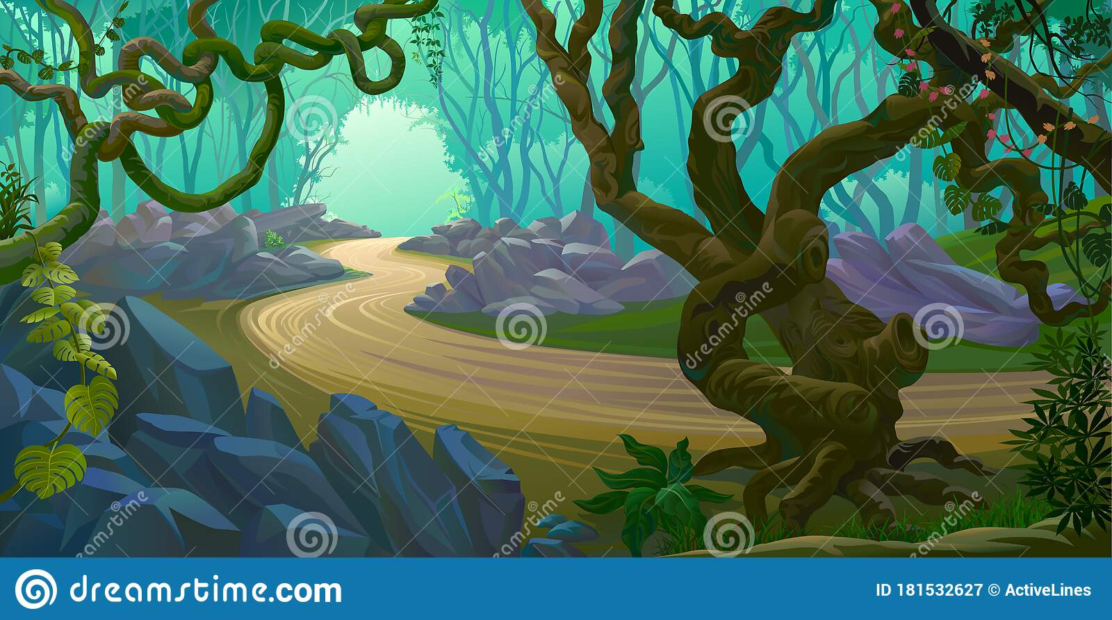 Creepy Branches Tangled Across The Forest A Road Through The Jungle Stock Vector Illustration Of Bush Environment 181532627