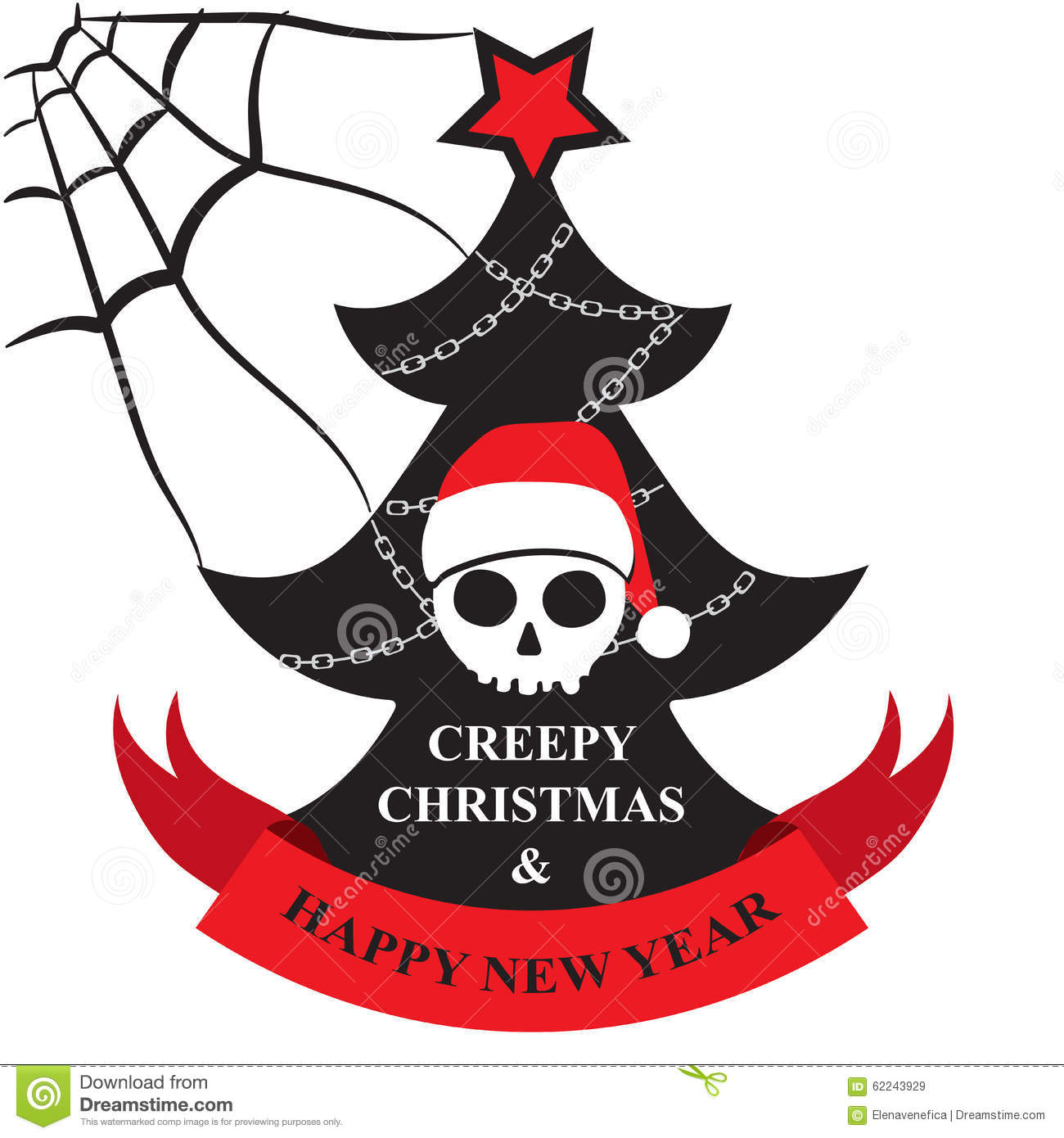 creepy christmas and happy new year greeting card