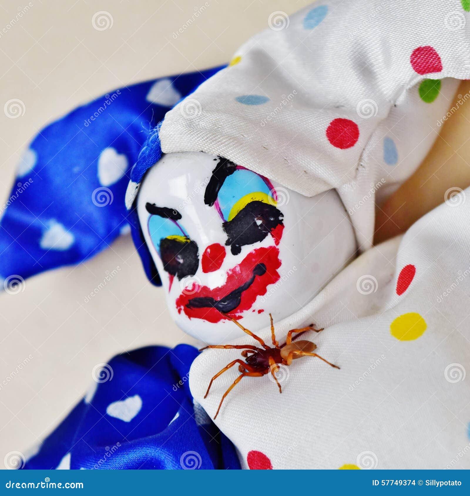 Creepy Clown Doll With Spider Friend