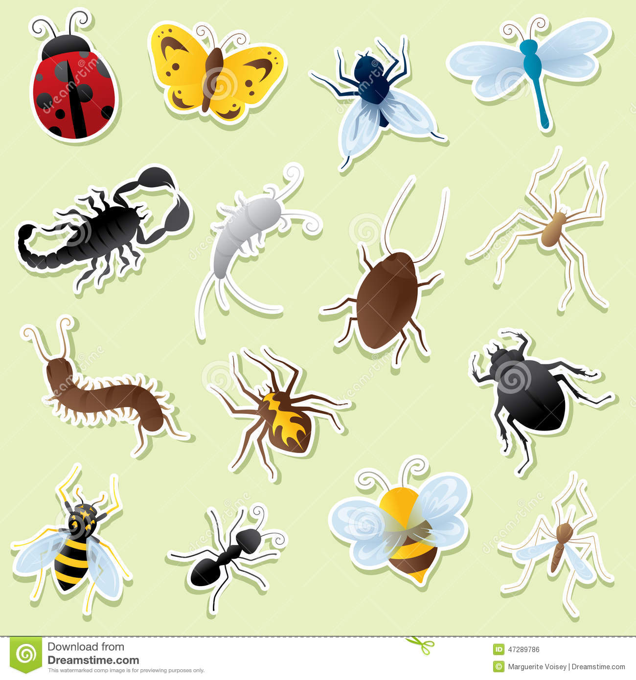 Creepy Crawly Cutouts Stock Vector Image 47289786