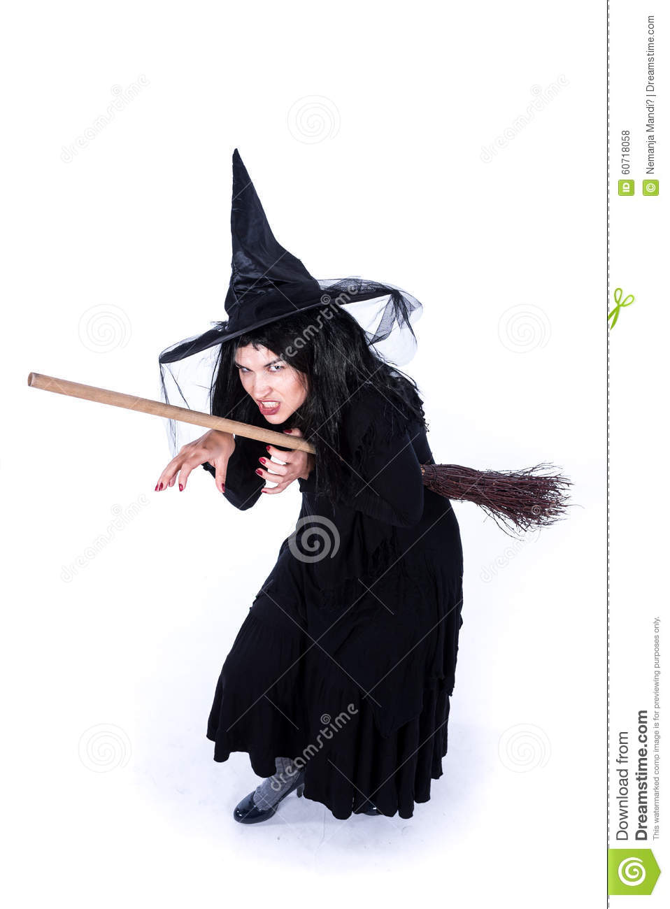 Creepy Evil Witch With Broom Stock Photo - Image: 60718058