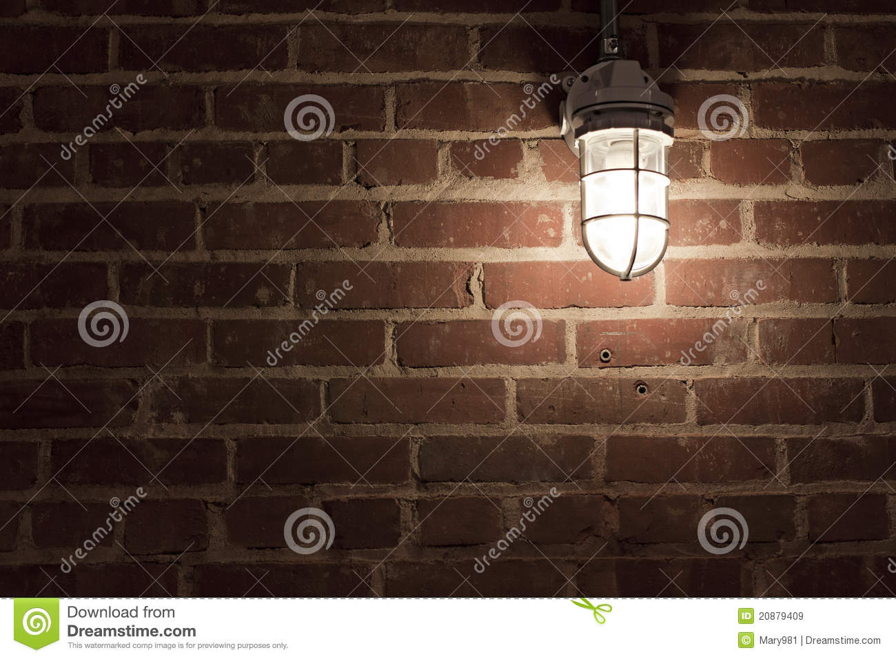 Creepy Light On Textrued Brick Wall Stock Image Image