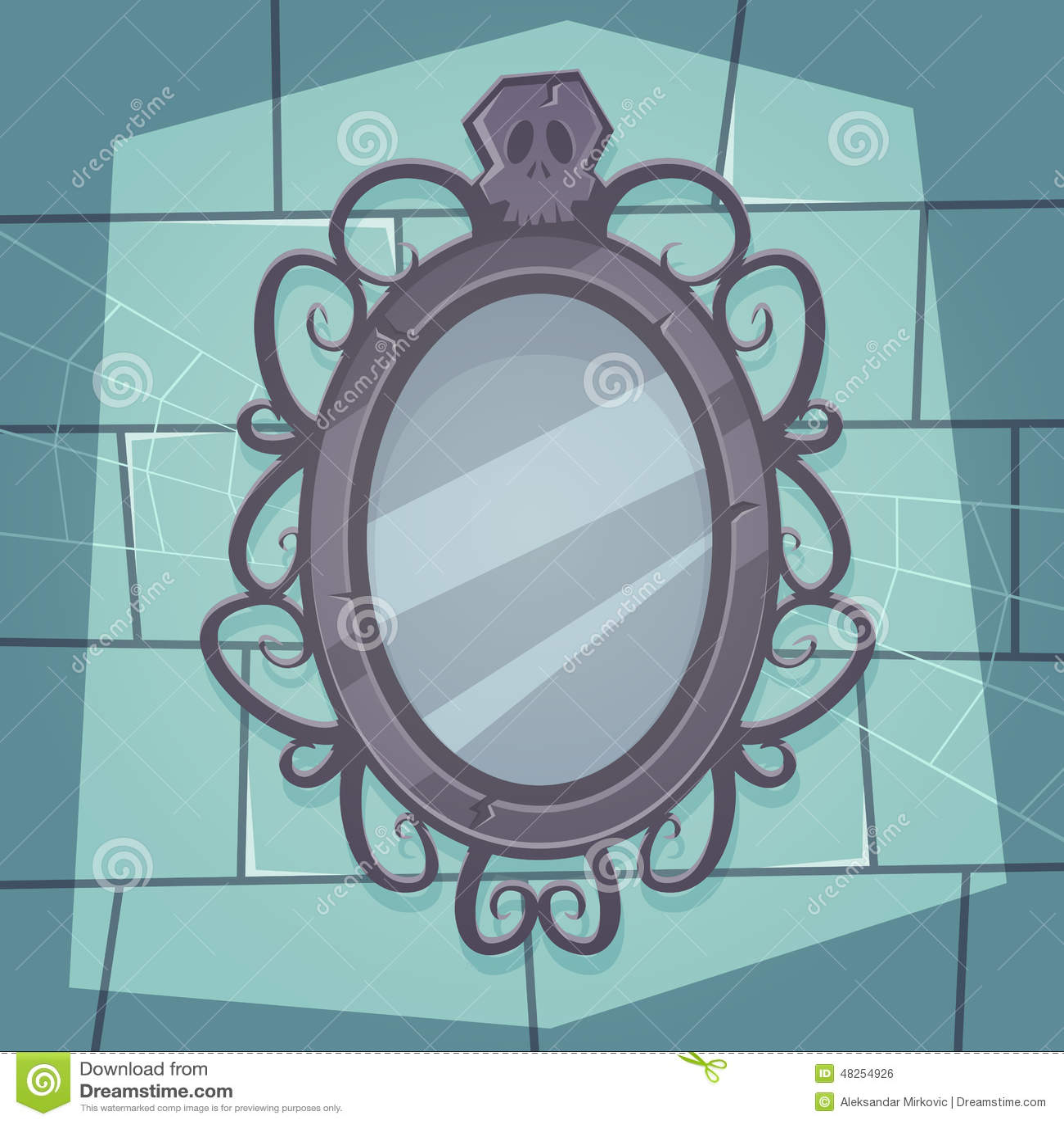 Creepy Mirror Stock Vector Image 48254926