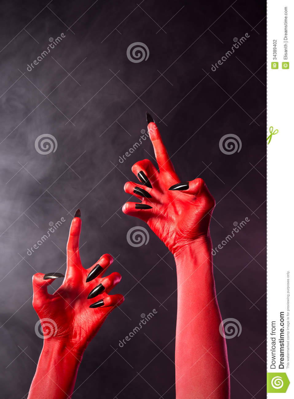 Creepy Red Devil Hands With Black Nails Stock Photography ...