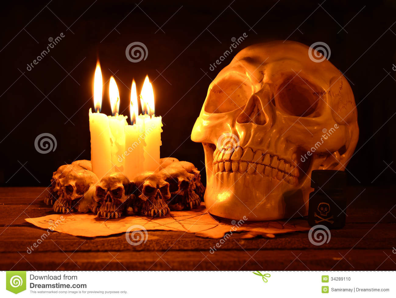 Creepy skull with candles and poison