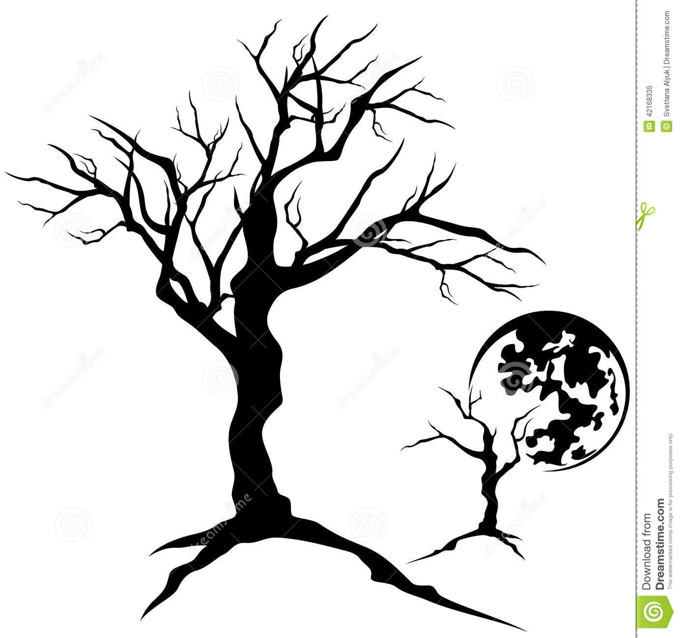 Stock Illustration Creepy Tree Twisted Design Bare Branches Detailed Silhouette Image42168335 on scary eyes clip art free