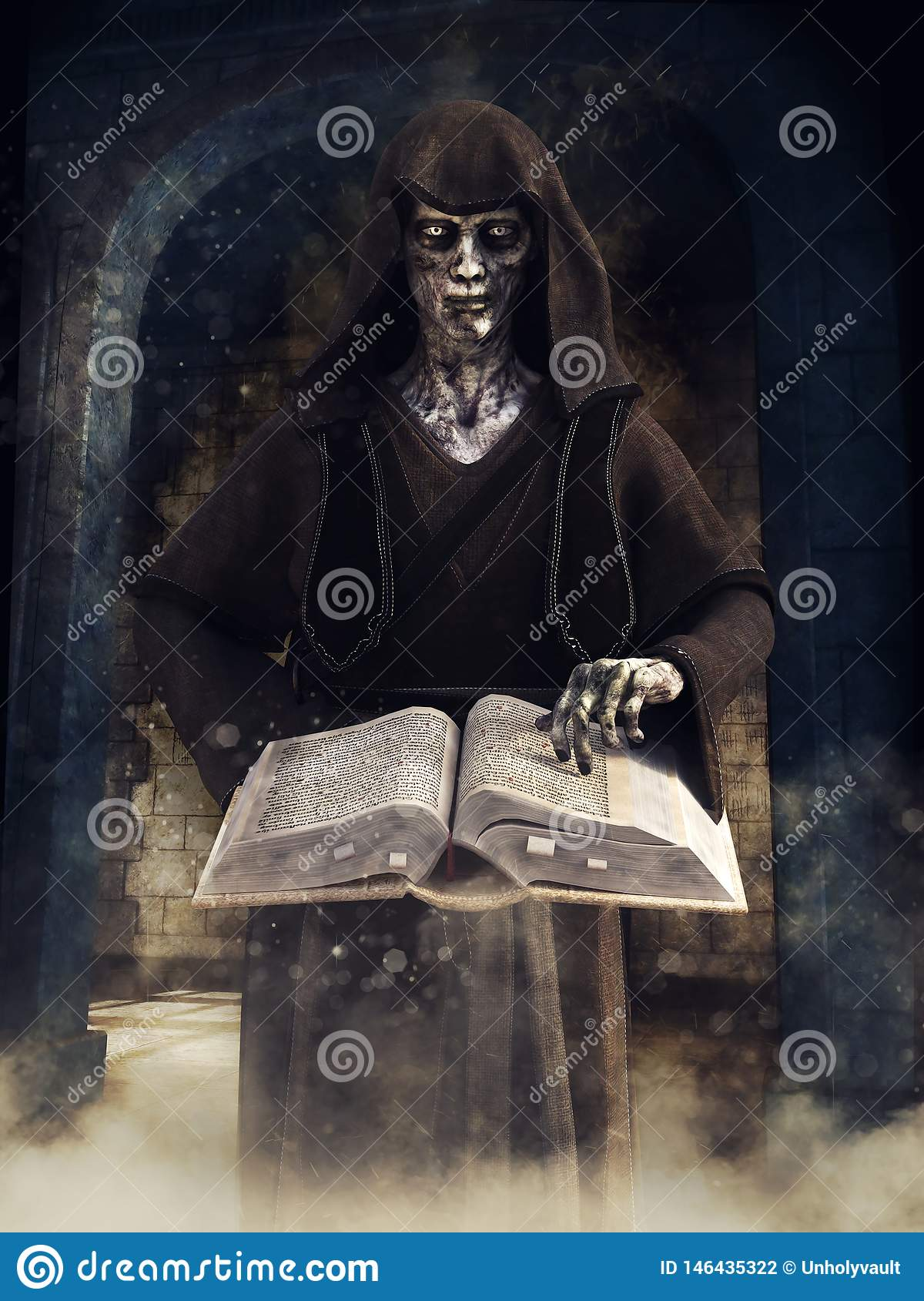 Undead wizard with a magic book