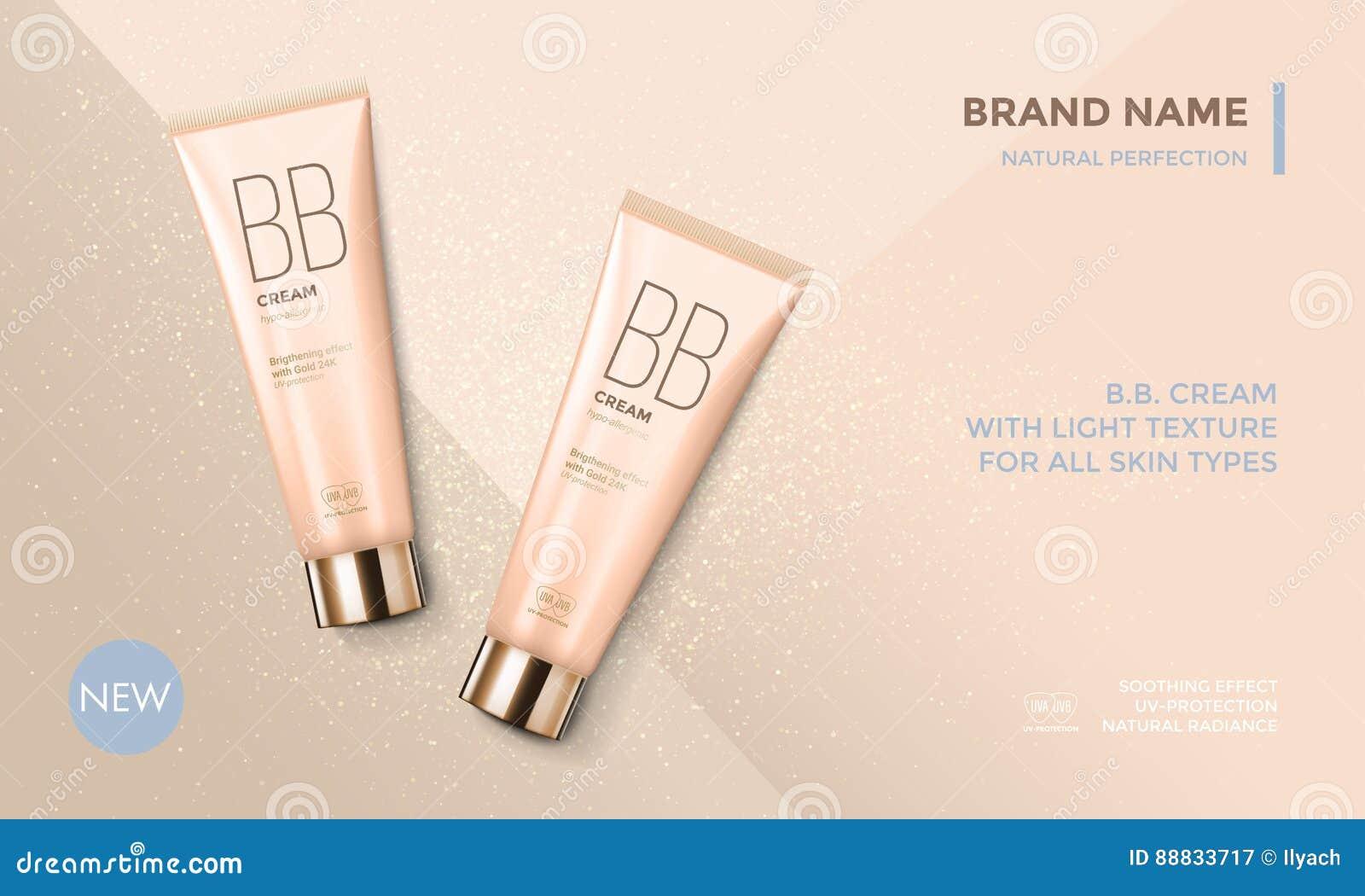 Crema de cara cosmética del BB de la plantilla del vector de la publicidad del paquete