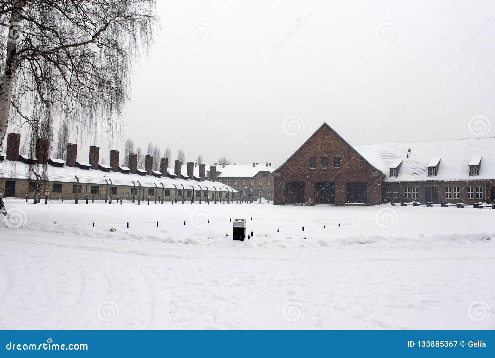 Crematorium opuszczać w Auschwitz koncentracyjnym obozie był siecią koncentracji i eksterminacji obozy