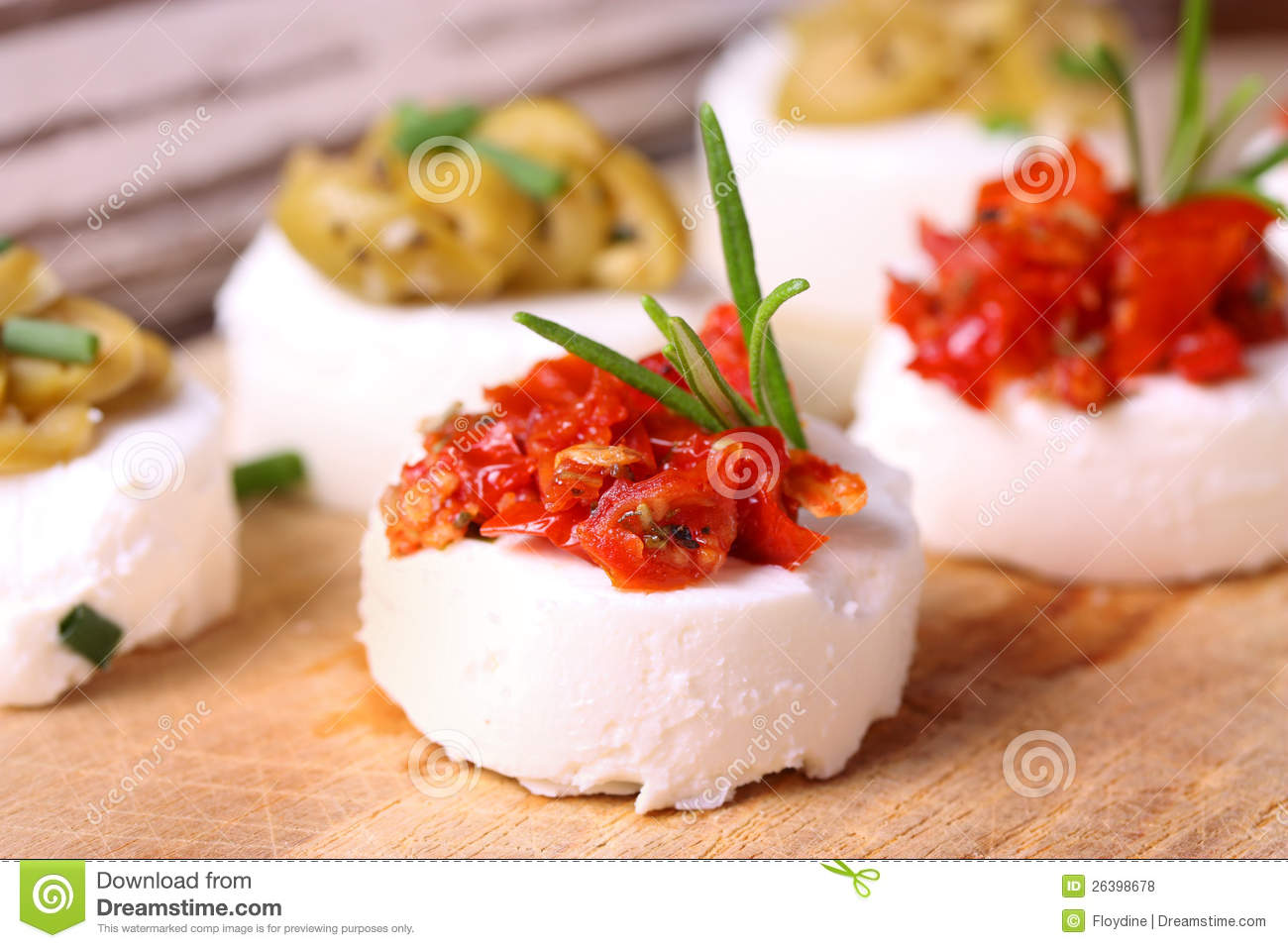 Creme cheese canapes with decoration royalty free stock for Cream cheese canape