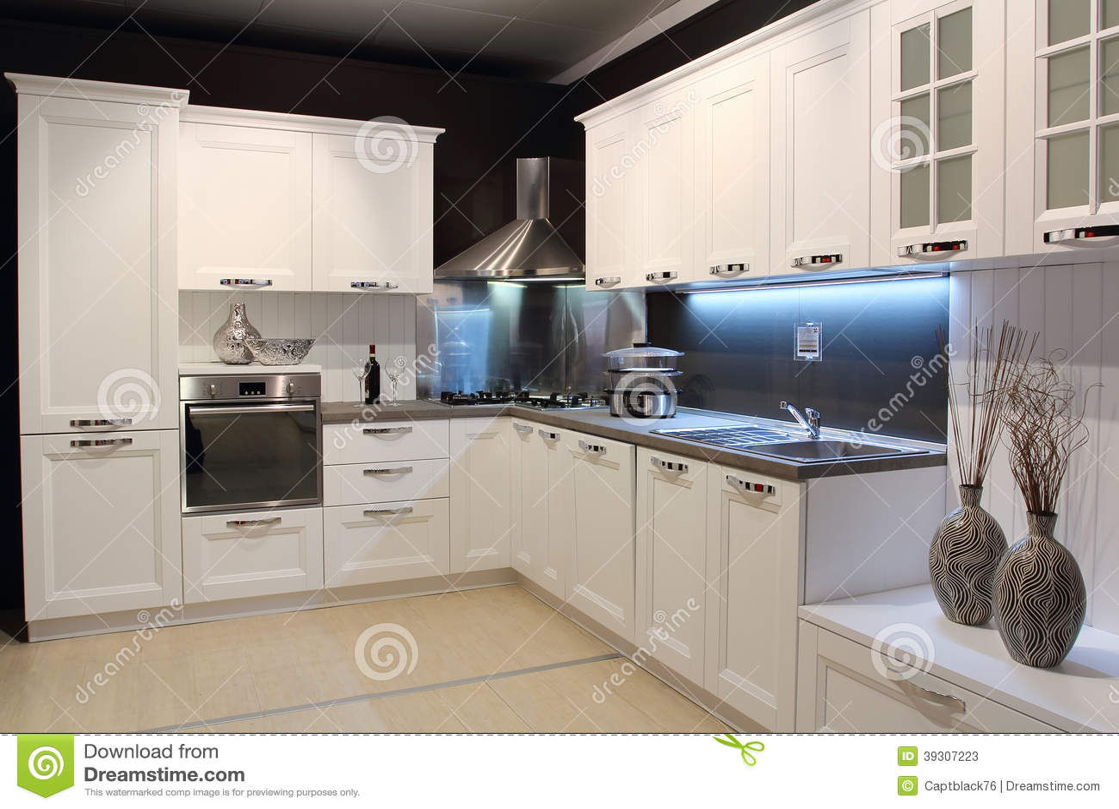 Creme Moderno Cozinha Colorida Imagem De Stock Imagem De