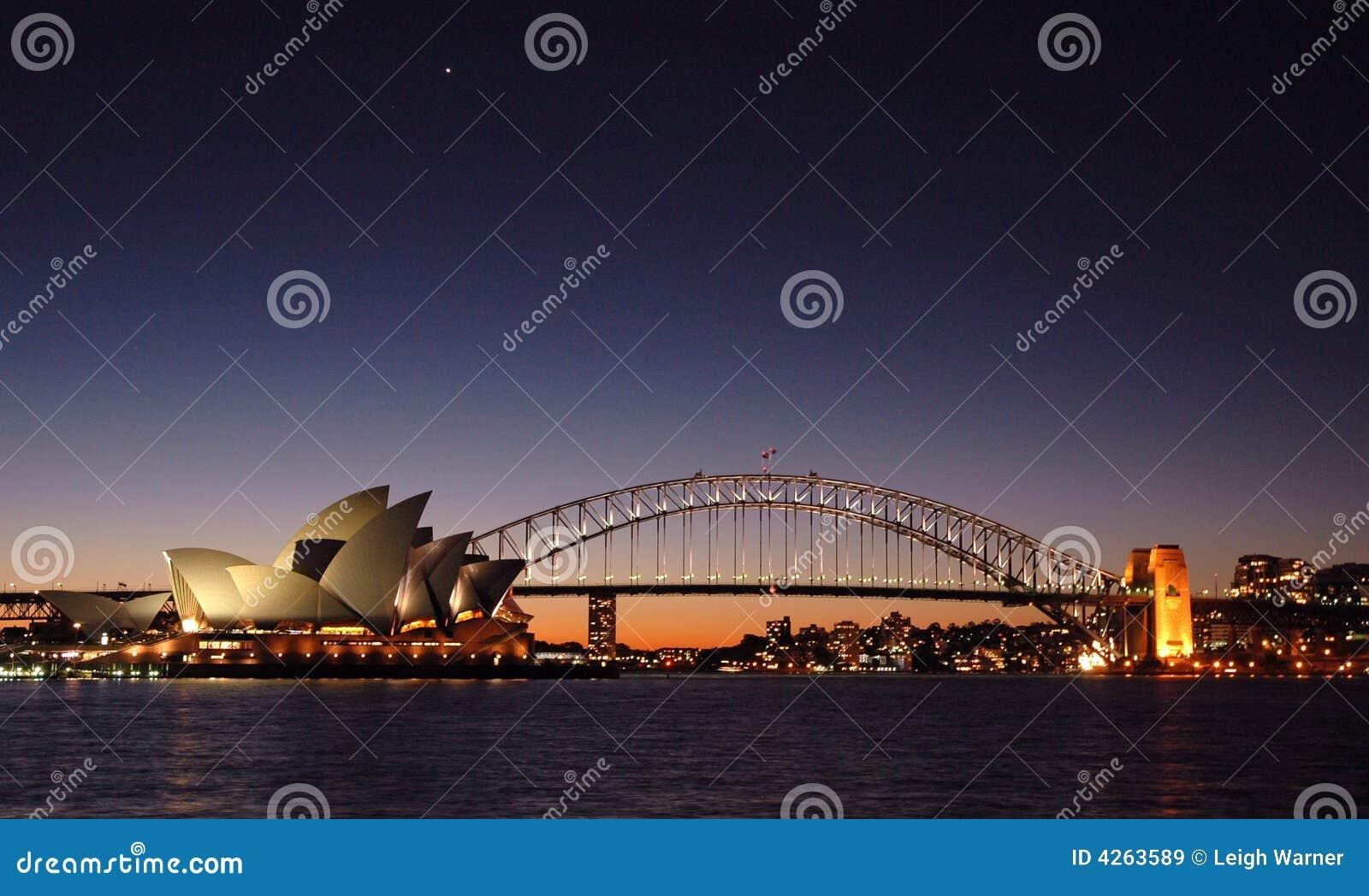 Crepúsculo del puente de puerto de Sydney