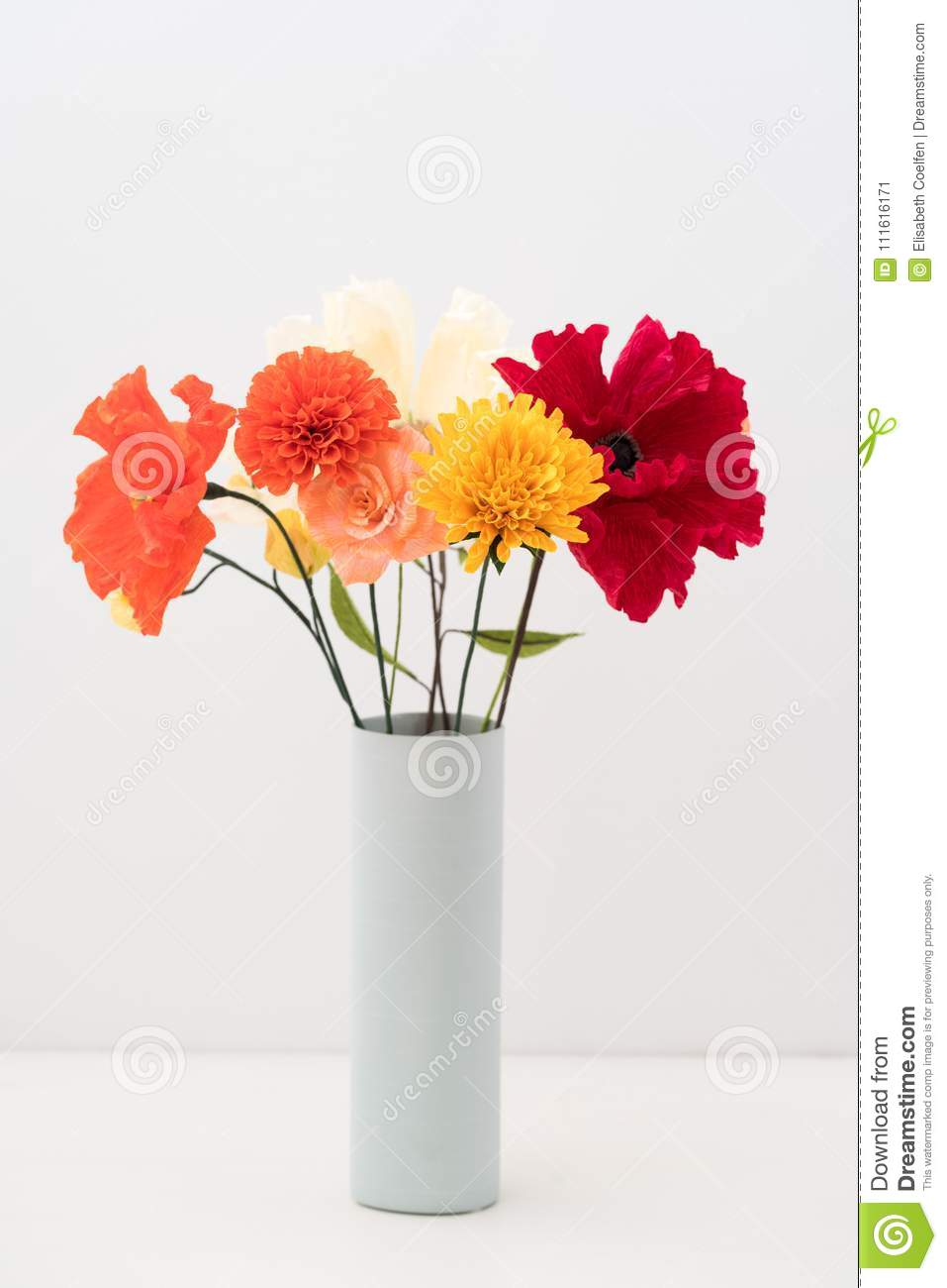 Crepe Paper Flower Bouquet Stock Image Image Of Leaves 111616171