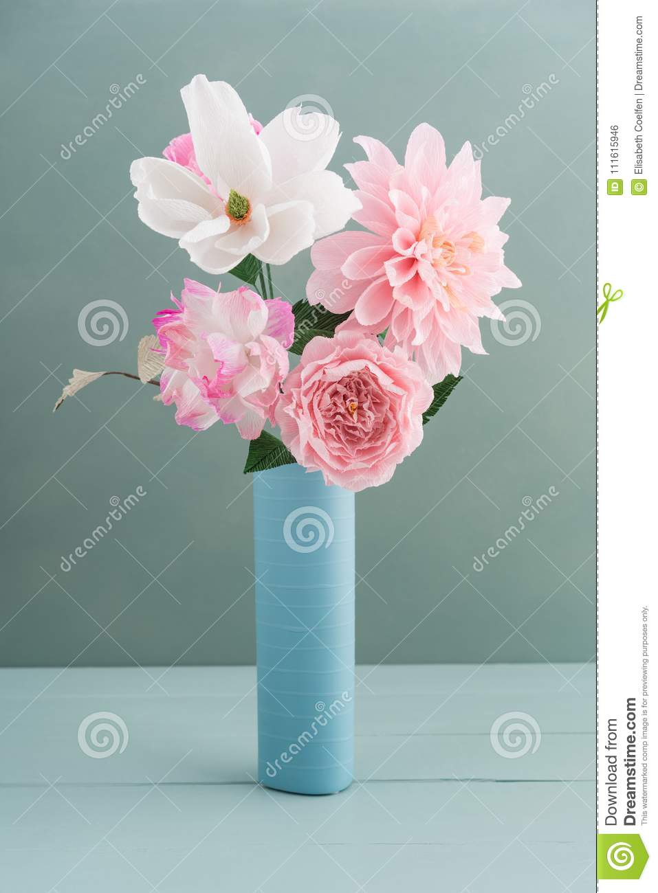 Crepe Paper Flower Bouquet Stock Photo Image Of White 111615946
