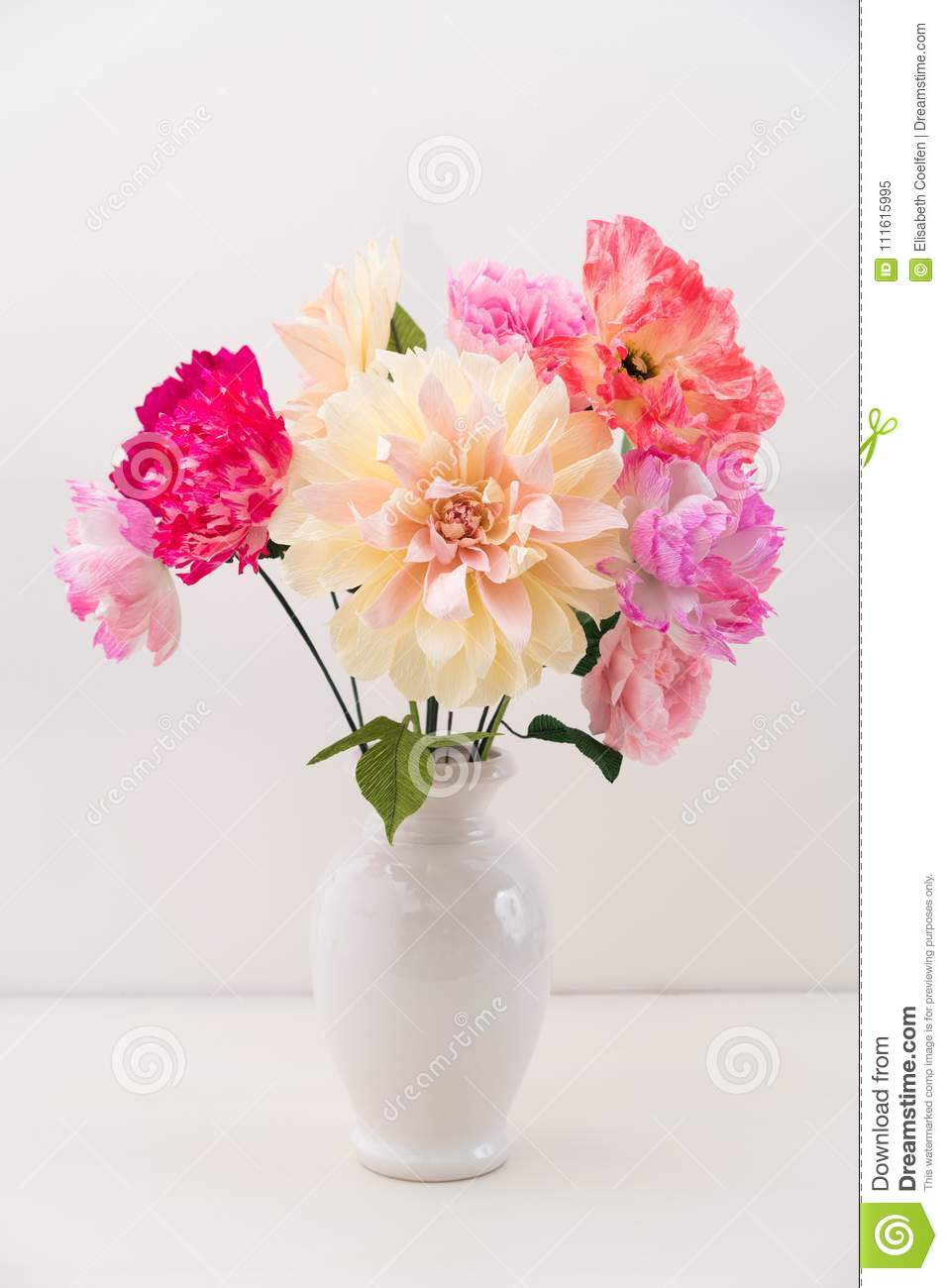 Crepe Paper Flower Bouquet Stock Image Image Of Handmade 111615995