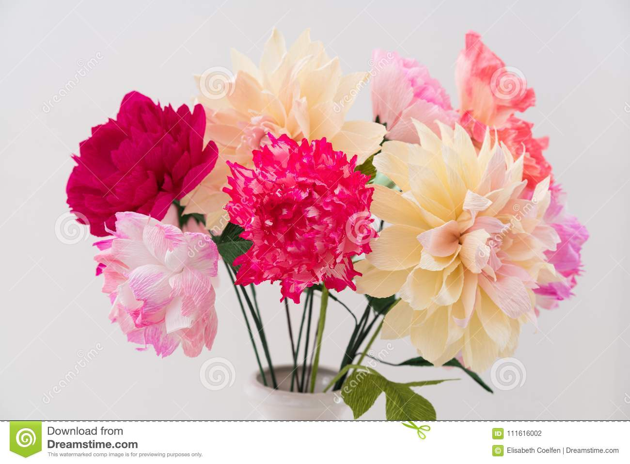Crepe Paper Flower Bouquet Stock Photo Image Of Wedding 111616002