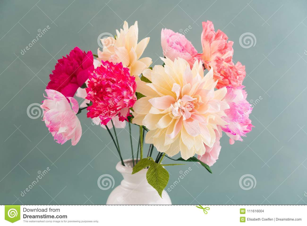 Crepe Paper Flower Bouquet Stock Photo Image Of White 111616004