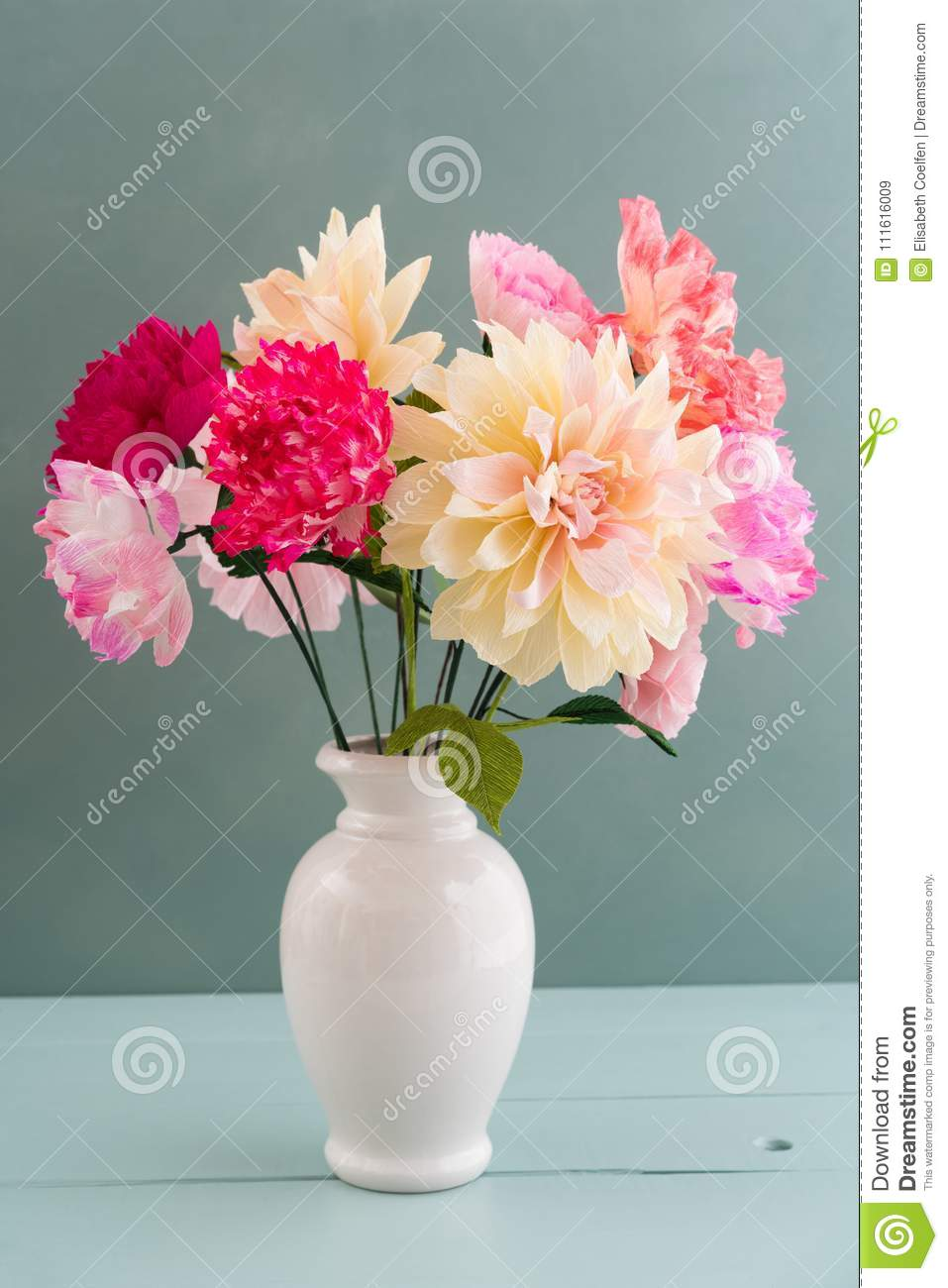 Crepe Paper Flower Bouquet Stock Image Image Of Decoration 111616009