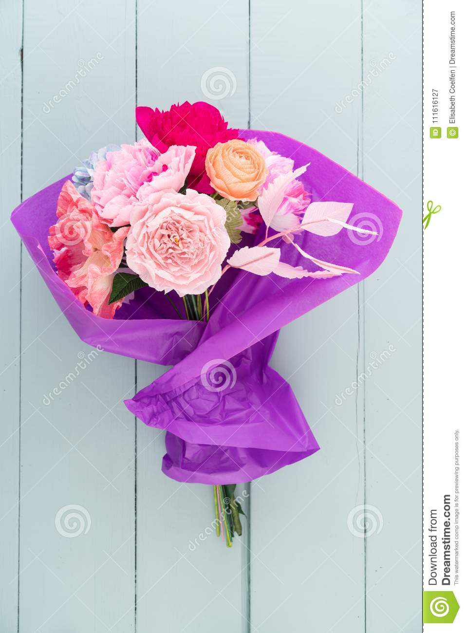 Crepe Paper Flower Bouquet Stock Image Image Of Handmade 111616127
