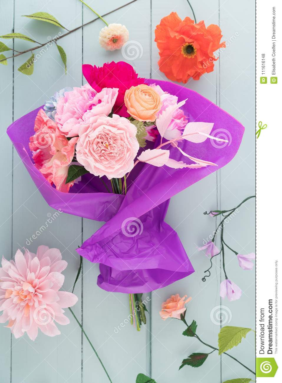 Crepe Paper Flower Bouquet Stock Photo Image Of Roses 111616148
