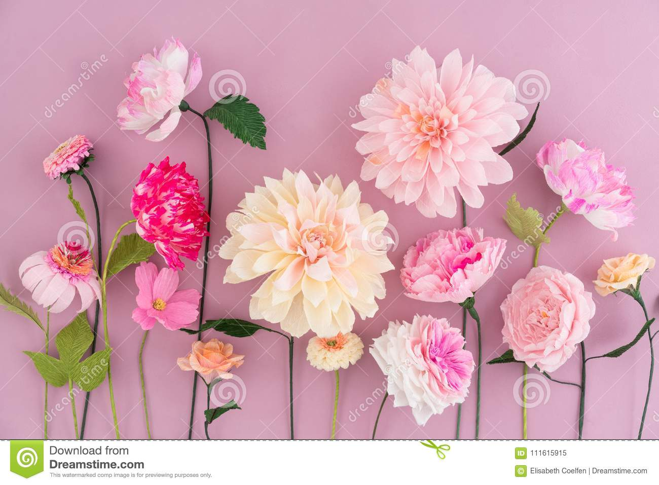 Crepe Paper Flowers Stock Image Image Of Carnation 111615915