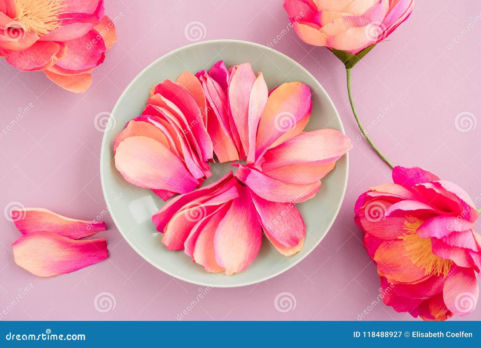 Crepe Paper Peony Flowers Stock Image Image Of Overhead 118488927