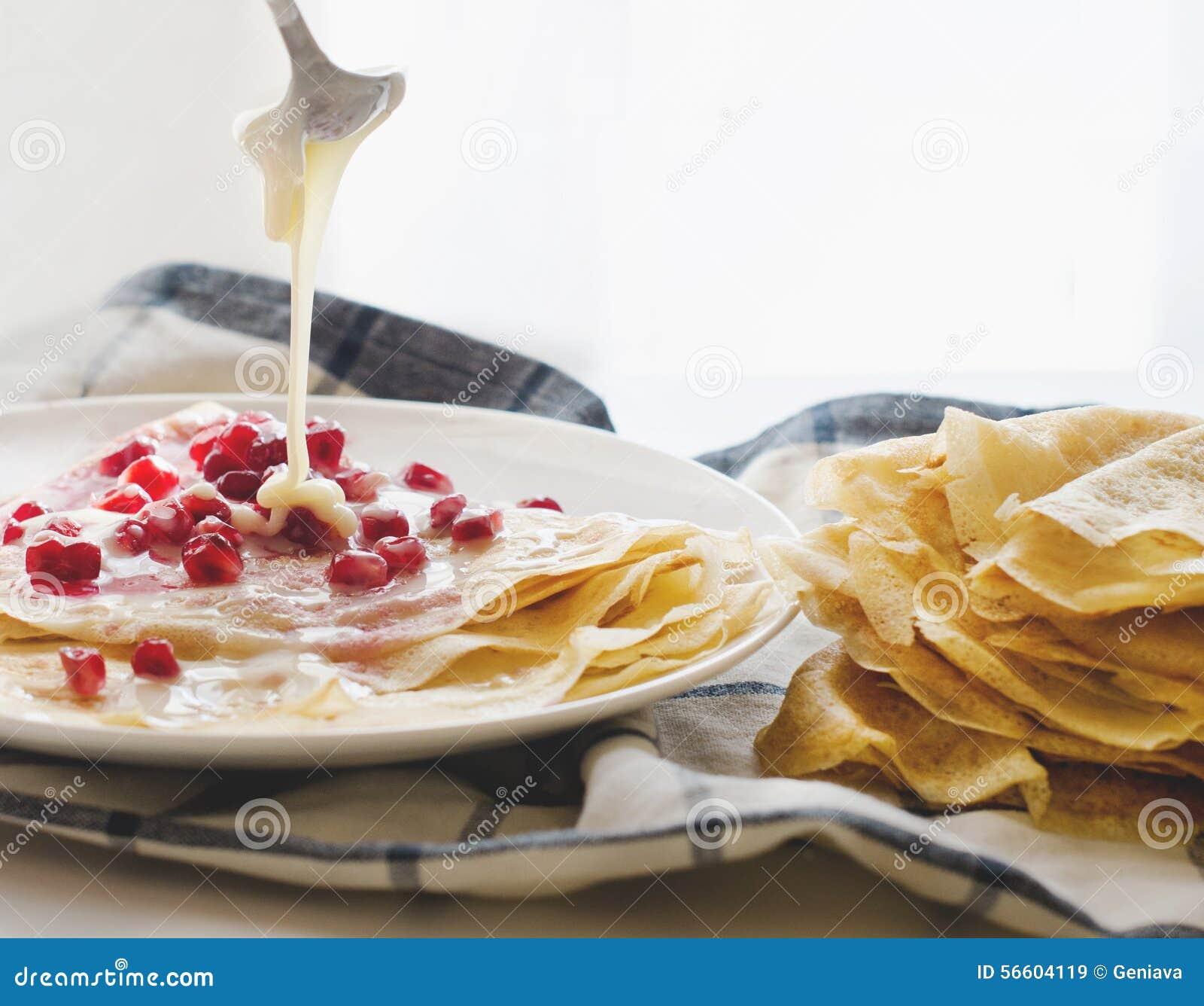 Crepes Pomegranate condensed Milk