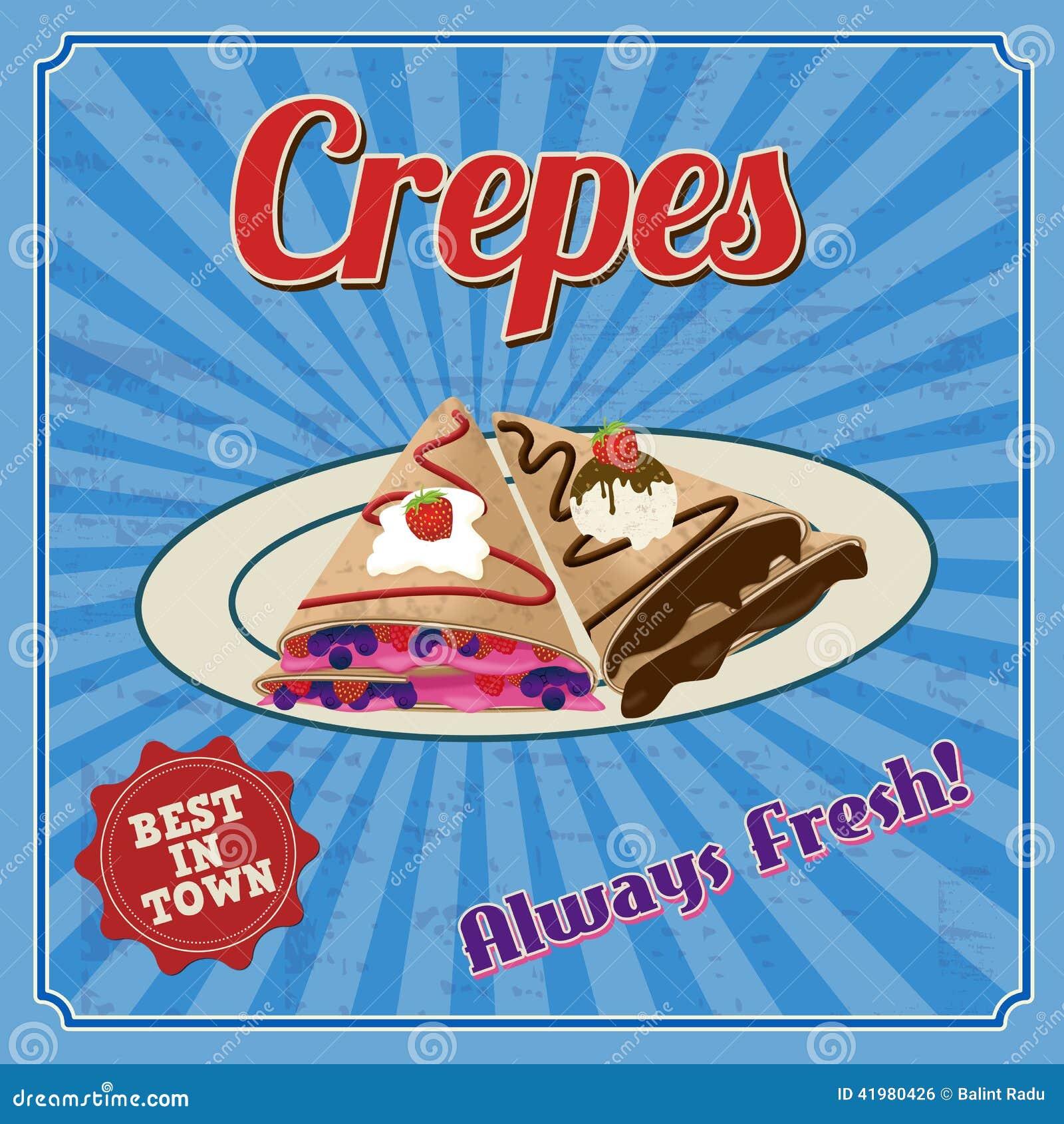 Crepes Retro Poster Stock Vector Illustration Of Crape 41980426