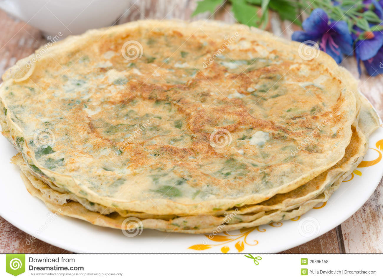 Crepes with spinach