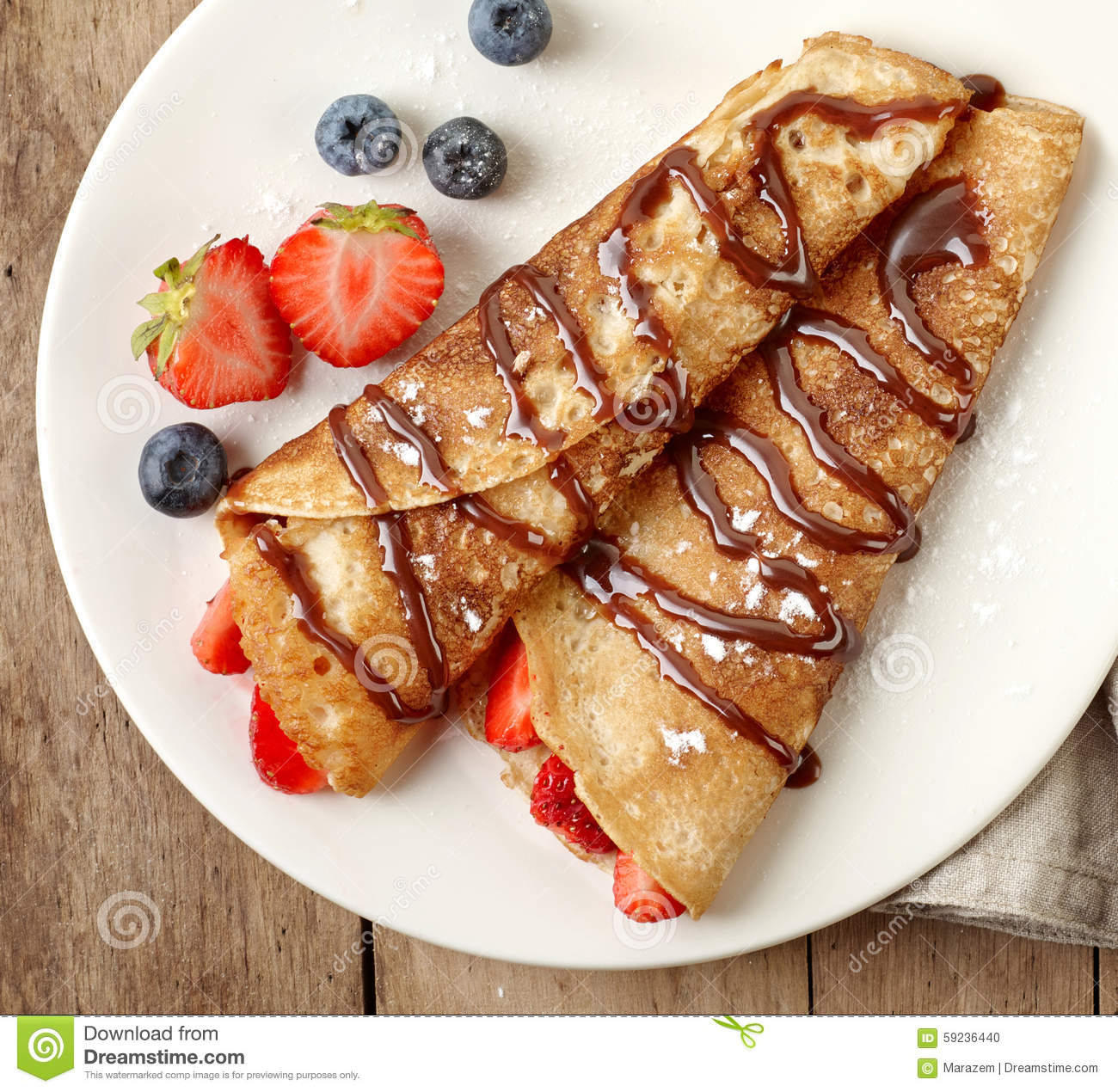 Crepes With Strawberries And Chocolate Stock Photo - Image: 59236440