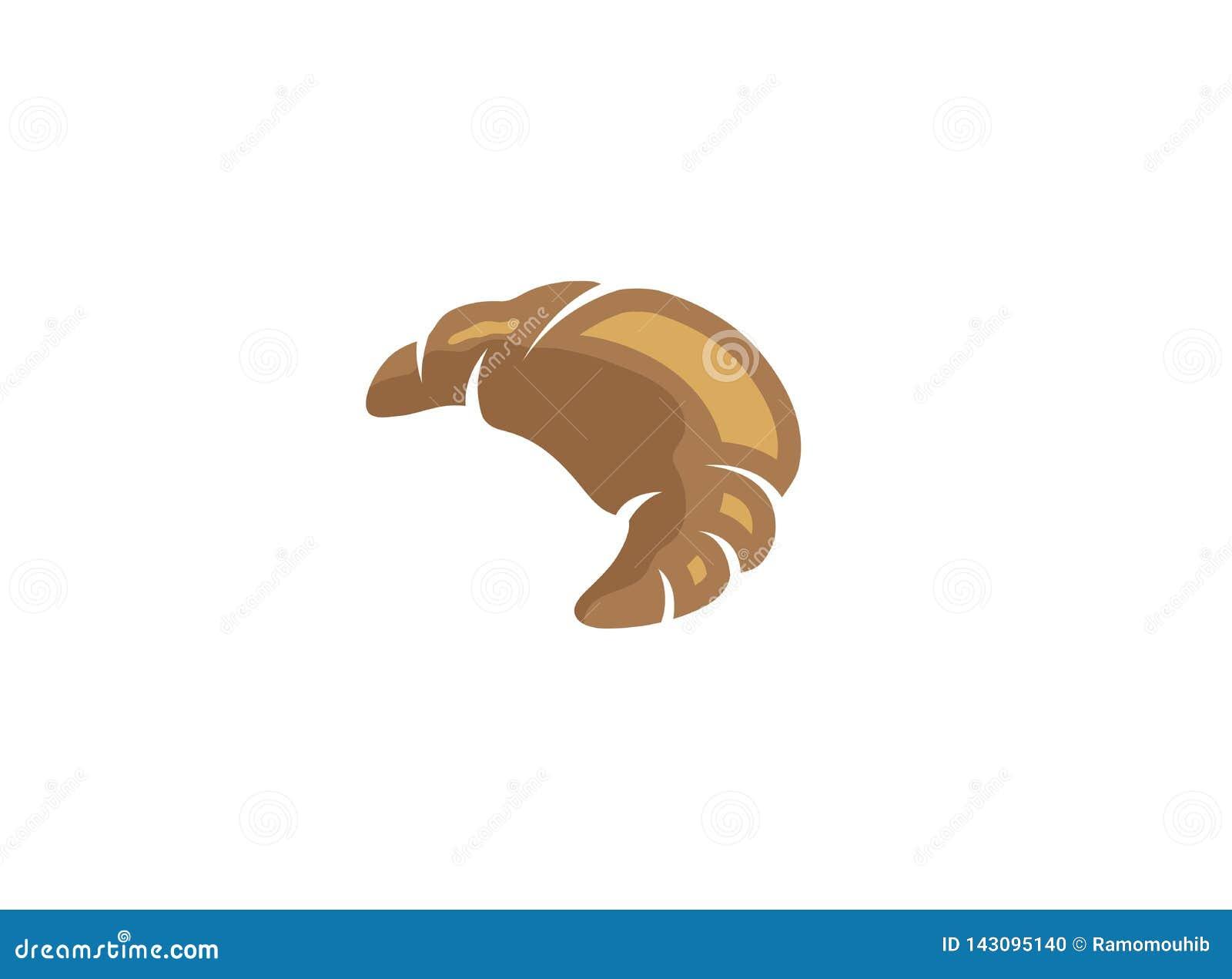 Crescent a croissant hand for logo design