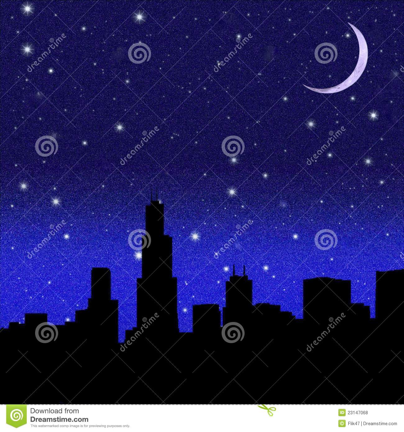crescent moon and black starry sky over city stock