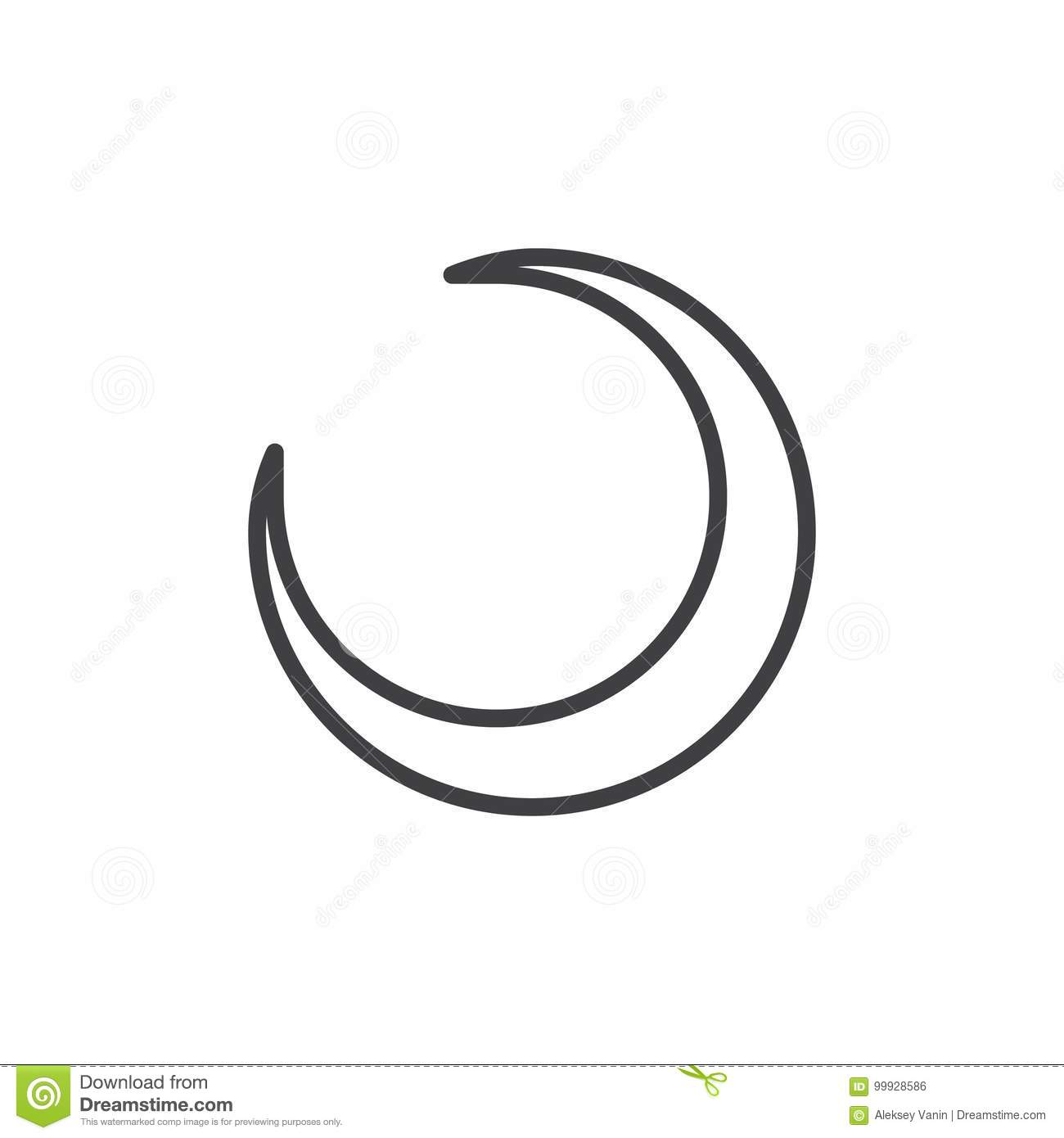 crescent moon line icon stock vector illustration of vector 99928586 https www dreamstime com crescent moon line icon crescent moon line icon outline vector sign linear style pictogram isolated white astrology symbol logo image99928586